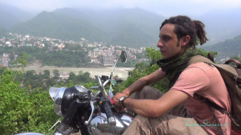 Adam on his Enfield overviewing the Ganges